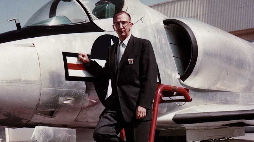 Ed Heinemann with the XA4D-1 prototype at the rollout ceremony in June 1954.  (SDASM)