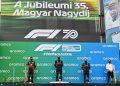 Pódio da corrida de 2020: Verstappen (E), Hamilton e Bottas (Red Bull/Getty Images)