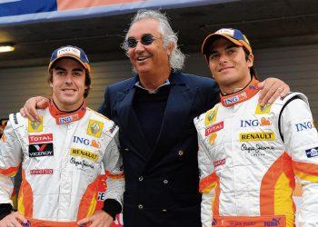 Fernando Alonso, Flavio Briaore e Nélson Piquet Jr. (Foto: Divulgação Renault)